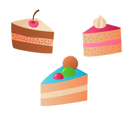 Three pieces of different cakes. Decorated with cherries and meringues, sweets and cookies. For a birthday or other celebration. Color isolated image with gradients on a white background. Doodle.