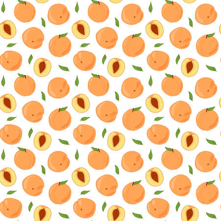 Ripe peaches with leaves in a cut. New repeating colored pattern on a white background. Doodle.