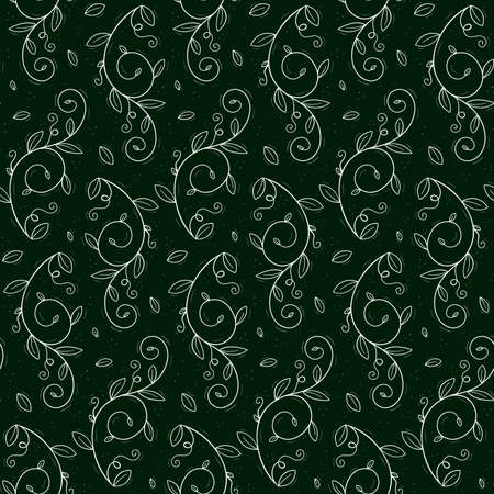 Seamless repeating pattern of a climbing plant such as peas or creepers with tendrils and leaves. Contour white objects on a dark green background.