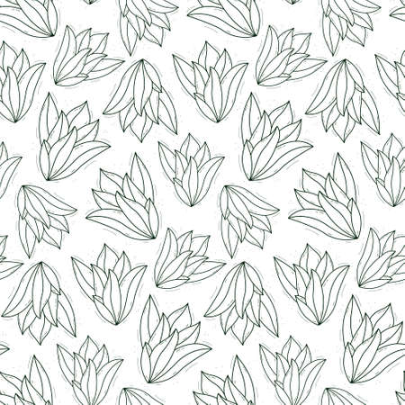 Seamless repeating plant pattern with thick succulent leaves growing from the center. Contour dark green objects on a white background.