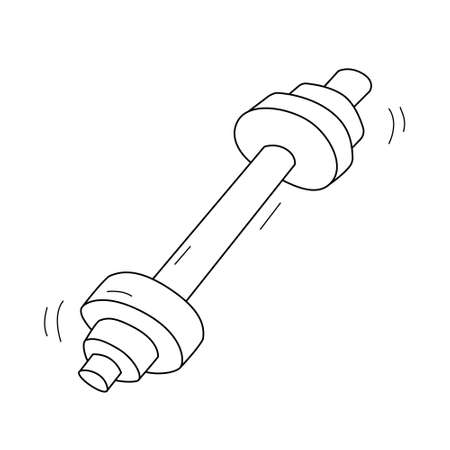 Dumbbell with discs. Sport equipment. Contour isolated doodle objects on a white background.