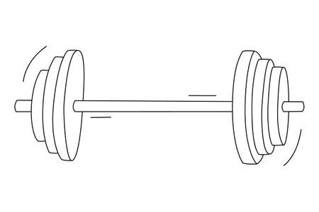 Rod with three discs on both sides. Sport equipment. Contour isolated doodle objects on a white background.