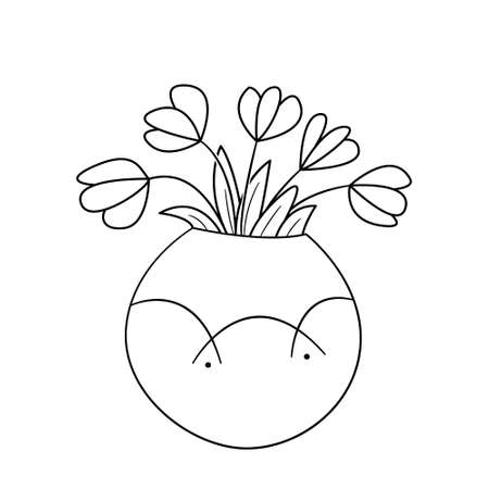 A bouquet of poppies in a round vase. Isolated contour black and white illustration in doodle style on a white background.