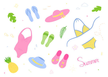 Beach set. Hats and swimwear, light shoes - flip flops.Isolated drawings in the style of doodle on a white background.