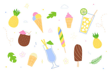 A set of various ice creams and cocktails.Isolated drawings in the style of doodle on a white background. Illustration