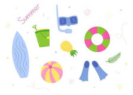 Set for relaxing on the beach. Surfboard and snorkeling paraphernalia, bouncy ball and float, bucket with shovel and sand.Isolated drawings in the style of doodle on a white background.