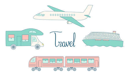 Tourist transport set. Airplane with train, cruise ship and trailer. Contour colored isolated objects doodle on a white background. Illustration