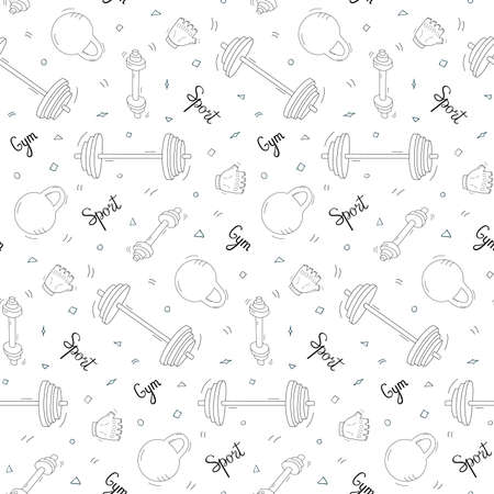Seamless repeating pattern of items of sports equipment. Black and white doodles on a white background.