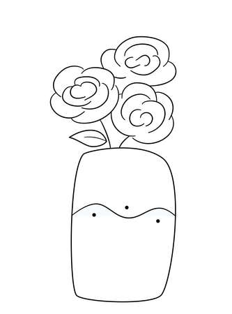 A bouquet of three lush roses in a wide vase with a wavy pattern. Isolated contour black and white illustration in doodle style on a white background.