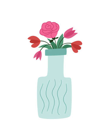 Bouquet of different flowers in a vase that looks like a bottle. Lush rose, poppies and tulips. Colored isolated illustration in doodle style on a white background. Illustration