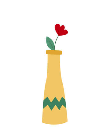 One poppy with a leaf in a ceramic vase with a zigzag pattern. Colored isolated illustration in doodle style on white background.