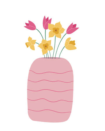 Bouquet of daffodils and tulips in a wide vase with horizontal wavy pattern Colored isolated illustration in doodle style on white background.