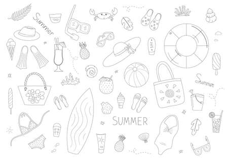 Set of summer, sea and holiday elements. Toys, clothing and accessories, drinks and ice cream, marine life and corals. Isolated contour objects in doodle style on a white background.
