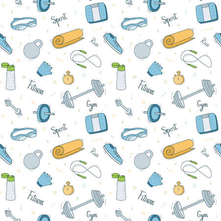 Sports Equipment. Seamless repeating pattern of colored objects, doodle style on a white background.