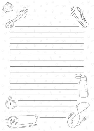 Template for text.Sports equipment. Doodle black and white drawings and stripes with a pattern on the background. Illustration