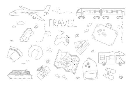 Set of accessories, transport and symbols for travel and recreation. Isolated contour objects in doodle style on a white background.