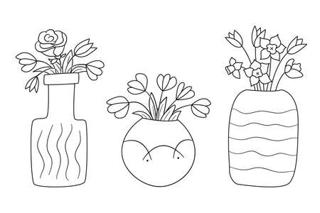 A set of vases of different shapes with bouquets of flowers. Isolated contour objects in doodle style on a white background. Illustration