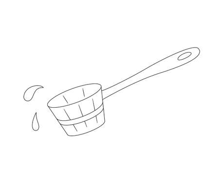 Wooden scoop for water and use in a sauna or steam room. Contour black and white isolated illustration in doodle style on white background.