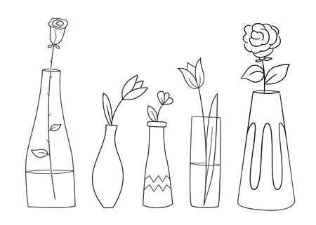 A set of different vases, one flower each. Contour black and white isolated illustrations in doodle style on a white background.