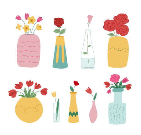 Large set of flower vases. Idly filled bouquets or single flowers. Colored isolated illustration in doodle style on white background. Illustration