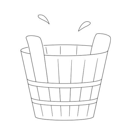 Wooden tub or basin for use in a sauna or steam room. Contour black and white isolated illustration in doodle style on white background. Illustration