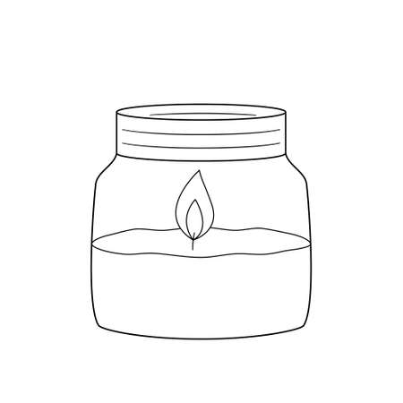 The aroma candle in the jar is on fire.Contour black and white isolated illustration in doodle style on white background.