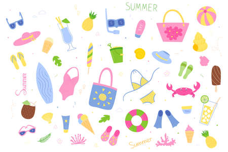 Set of colored elements of summer, sea and recreation. Toys, clothing and accessories, drinks and ice cream, marine life and corals. Isolated objects in the style of doodle on a white background.
