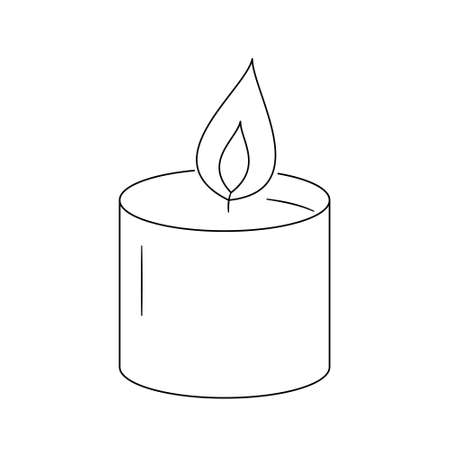 A wide low candle burns. Double flame.Contour black and white isolated illustration in doodle style on white background. Illustration