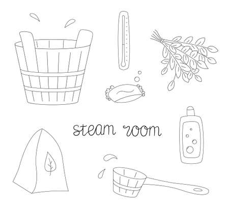 A set of items for the steam room. Wooden tub and scoop, soap and shampoo. Broom, thermometer and felt hat.Contour black and white isolated illustration in doodle style on white background.