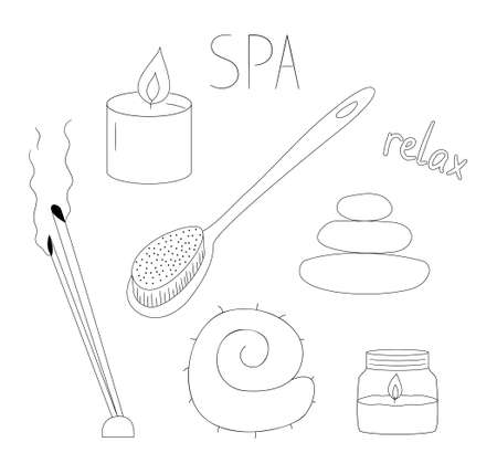 A set of items for spa and relaxation. Aromatherapy and skin care. Broom, thermometer and felt hat.Contour black and white isolated illustration in doodle style on white background.
