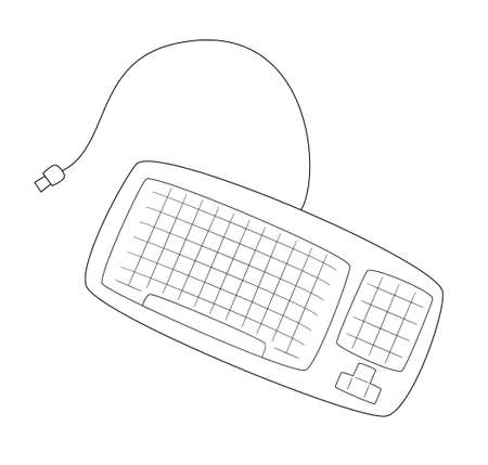 Keyboard with rounded edges and usb wire.Contour black and white isolated illustration in doodle style on white background.