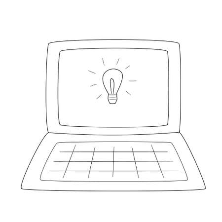 Open laptop with a painted light bulb in the monitor.Contour black and white isolated illustration in doodle style on white background. Illustration