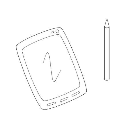 Computer tablet with camera buttons and stylus.Contour black and white isolated illustration in doodle style on white background. Illustration