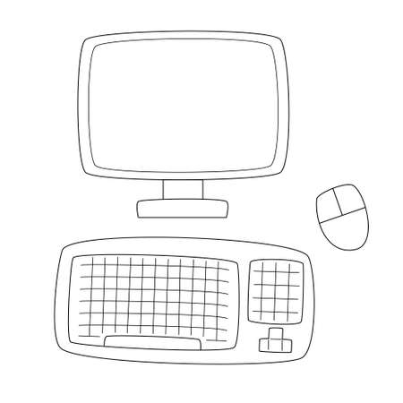 Personal computer. Monitor, wireless mouse and keyboard.Contour black and white isolated illustration in doodle style on white background. Illustration