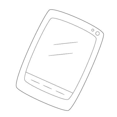 Computer tablet with buttons and a camera.Contour black and white isolated illustration in doodle style on white background.