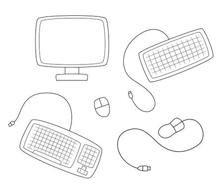 A set of computer equipment. Monitor, keyboard and mouse.Contour black and white isolated illustration in doodle style on white background.