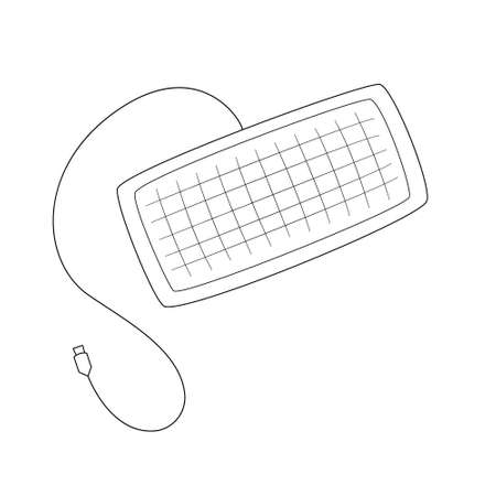 Keyboard with conditional buttons. With wire and USB connection.Contour black and white isolated illustration in doodle style on white background.