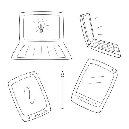 Set of laptops and computer tablets.Contour black and white isolated illustration in doodle style on white background.