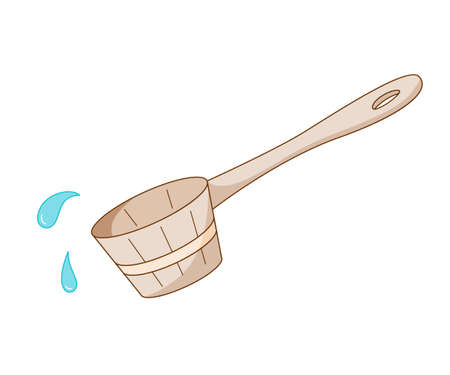 Wooden scoop for water and use in a sauna or steam room. Colored isolated illustrations in cartoon style with an outline on a white background.