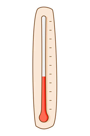 Thermometer for measuring ambient temperature. Colored isolated illustrations in cartoon style with an outline on a white background.