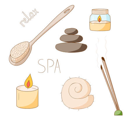 A set of items for spa and relaxation. Aromatherapy and skin care. Broom, thermometer and felt hat. Colored isolated illustrations in cartoon style with an outline on a white background.