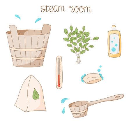 A set of items for the steam room. Wooden tub and scoop, soap and shampoo. Broom, thermometer and felt hat. Colored isolated illustrations in cartoon style with an outline on a white background. Illustration