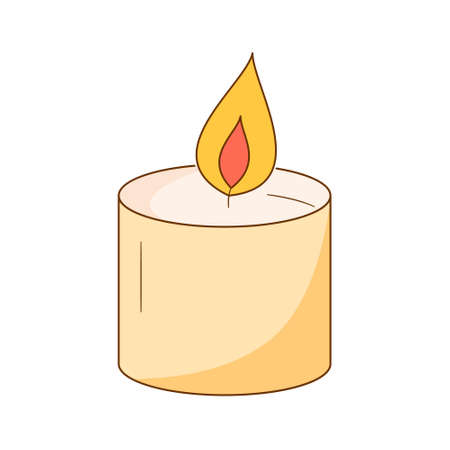 A wide low candle burns. Colored isolated illustrations in cartoon style with an outline on a white background.