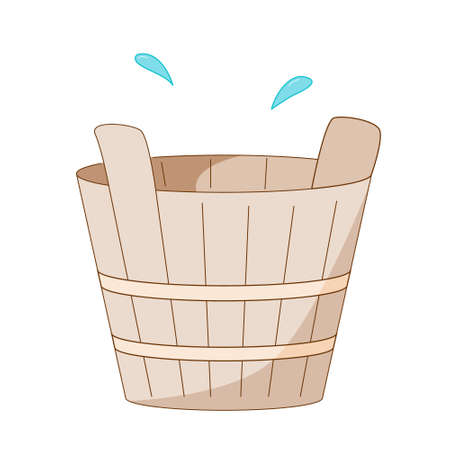 Wooden tub or basin for use in a sauna or steam room. Colored isolated illustrations in cartoon style with an outline on a white background. Illustration