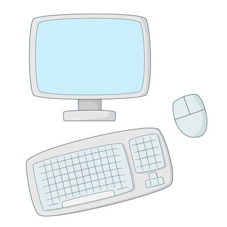 Personal computer. Monitor, wireless mouse and keyboard.Colored isolated illustrations in cartoon style with an outline on a white background.