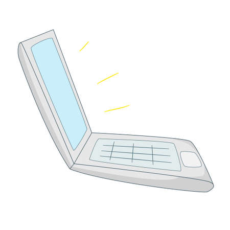 Open laptop, side view. Glow from the monitor.Colored isolated illustrations in cartoon style with an outline on a white background.