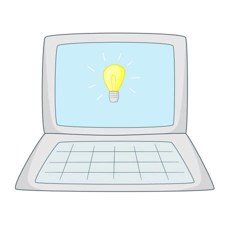 Open laptop with a painted light bulb in the monitor.Colored isolated illustrations in cartoon style with an outline on a white background.