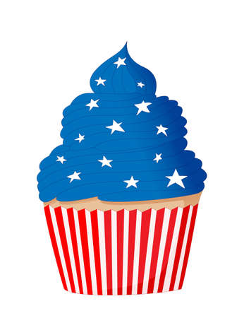 Cupcake for the United States Independence Day. 4th of July. Striped red and white label and blue cream with stars. Color illustration in cartoon style isolated on white background. Illustration