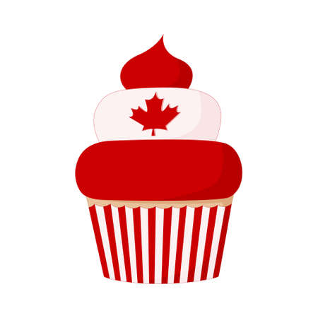 Cupcake for Canada Day July 1. Striped red and white label and maple leaf cream. Color illustration in cartoon style isolated on white background. Illustration