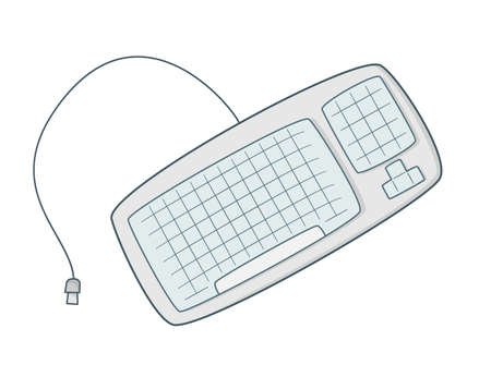 Keyboard with rounded edges and usb wire.Colored isolated illustrations in cartoon style with an outline on a white background.